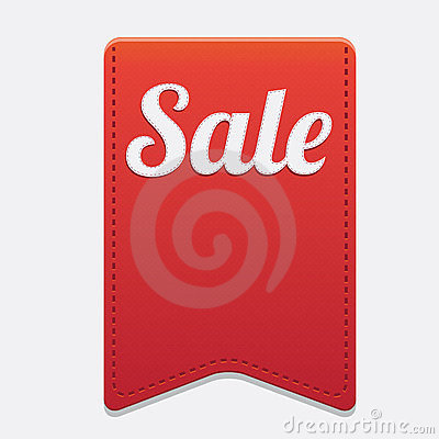 Vector red big sale ribbon on grey background.