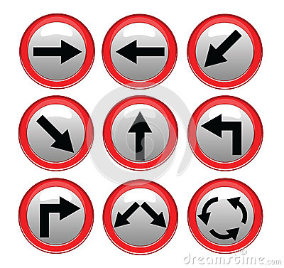 Vector red black traffic sign isolated on gray background