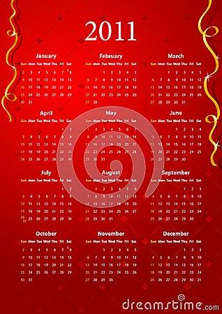Vector red calendar 2011
