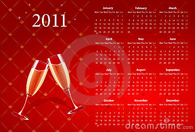 Vector red calendar 2011 with champagne