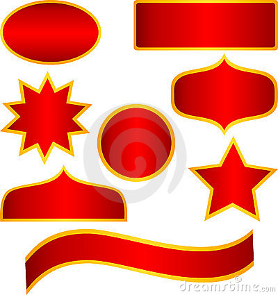 Vector Red golden stickers and banners