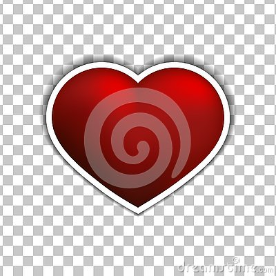 Vector Red heart sticker flat icon on white background Stock Photo