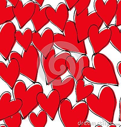 Vector red hearts pattern Vector Illustration