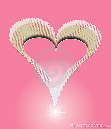 Vector red Love heart with shine pink background