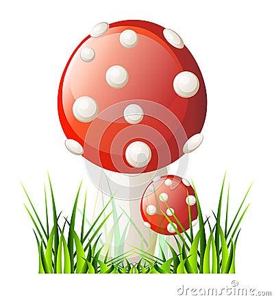 Vector red mushroom