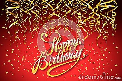 Happy Birthday Design Vector ~ Vector red party background. happy birthday celebration design
