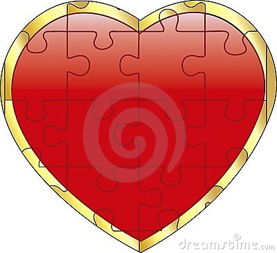 Vector red puzzle on heart