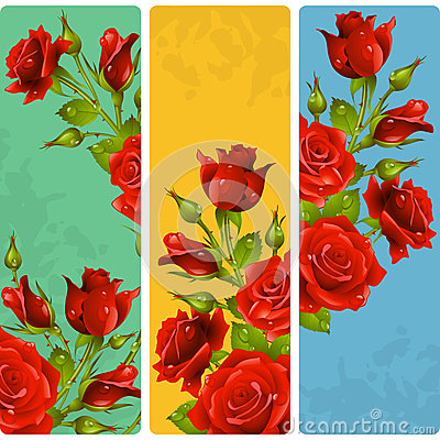 Free Vector Red Rose Frames. Set Of Floral Vertical Banners Stock Photography - 72916702