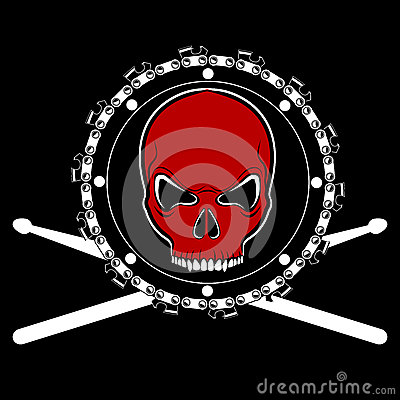 Vector red skull on chainsaw drum