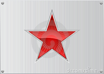Vector red star on aluminum background