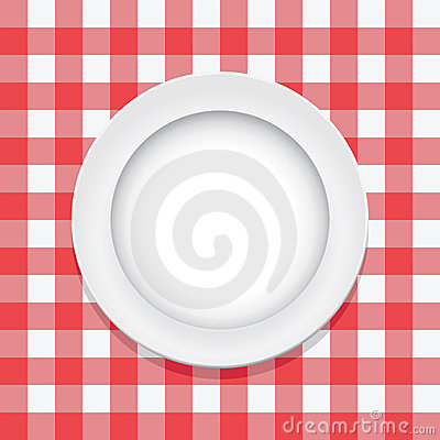 vector red tablecloth and empty plate