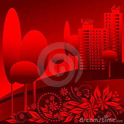 Vector red urban landscape