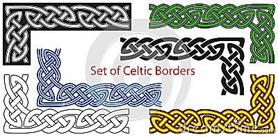 Vector reeks grenzen In Keltische stijl