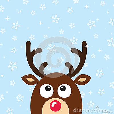 Vector Reindeer Christmas Card with snow backgroun