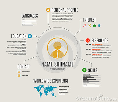 Vector Resume Web Template Cv With Icons. Stock Vector - Image