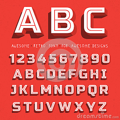 Free Vector Retro 3D Font With Shadow Royalty Free Stock Photo - 49377645
