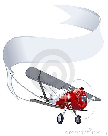Free Vector Retro Airplane With Banner Stock Photo - 21115600