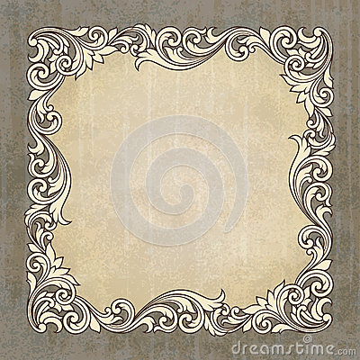 Vector retro border frame at grunge background