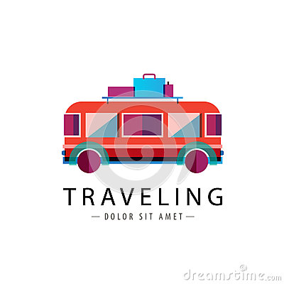Free Vector Retro Bus Logo, Traveling Icon Royalty Free Stock Photos - 51715168