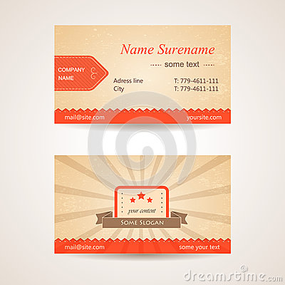 Vector retro business card. Front and back side