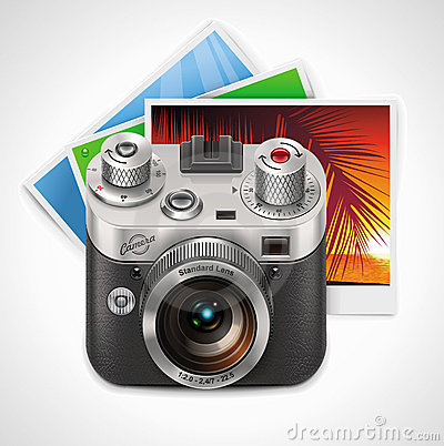 Free Vector Retro Camera And Photos XXL Icon Stock Images - 19768424