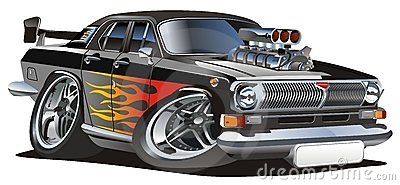 Vector retro cartoon hotrod