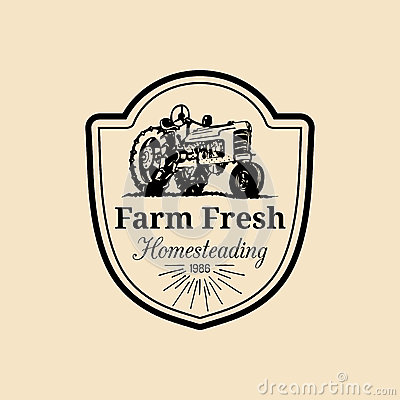Free Vector Retro Family Farm Logotype. Organic Premium Quality Products Logo. Vintage Hand Sketched Tractor Icon. Stock Photography - 89762542