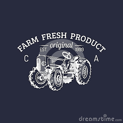 Free Vector Retro Family Farm Logotype. Organic Premium Quality Products Logo. Vintage Hand Sketched Tractor Icon. Stock Photo - 89762630