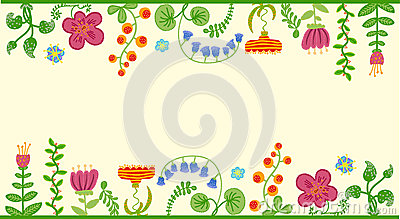 Vector retro floral background, frame