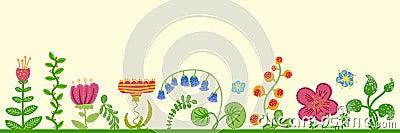 Vector retro floral background, frame