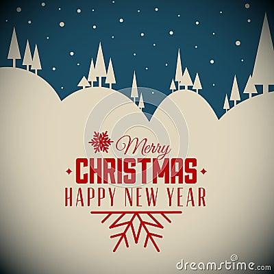 Free Vector Retro Night Snowy Christmas Card Stock Photography - 45302752