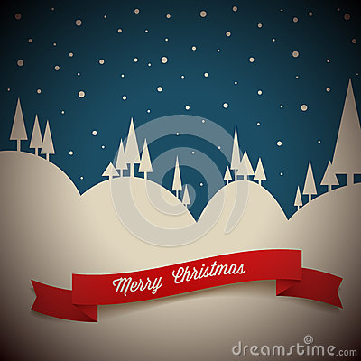 Free Vector Retro Night Snowy Landscape Stock Images - 27926724