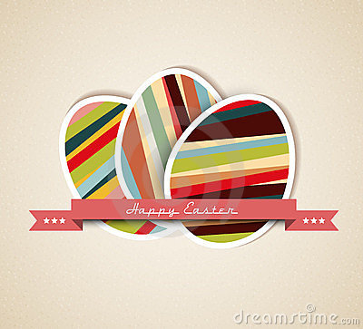Vector retro Paper easter egg card