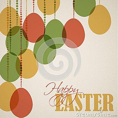 Vector retro Paper easter egg card / poster