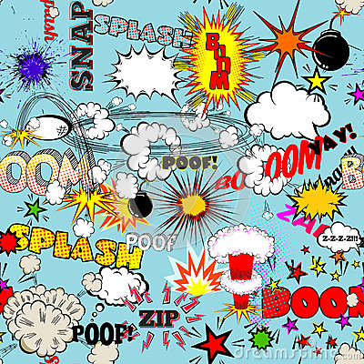 Free Vector Retro Seamless Pattern With Comic Speech Bubbles, Labels, Logos And Comic Book Words Royalty Free Stock Photo - 46730595