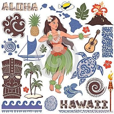 Free Vector Retro Set Of Hawaiian Icons And Symbols Royalty Free Stock Photo - 52477915