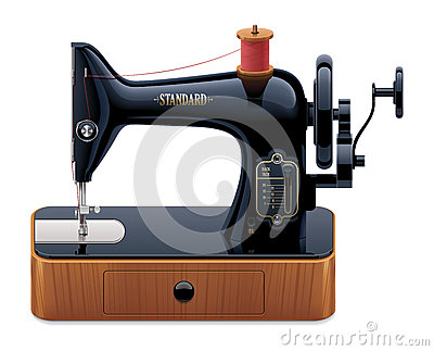 Vector retro sewing machine
