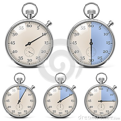 Vector Retro Stopwatch Set