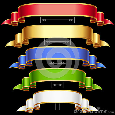 Vector Ribbons set isolated on black background