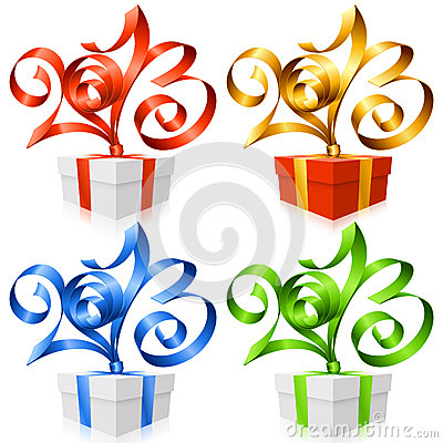 Vector ribbons in the shape of 2013 and gift box