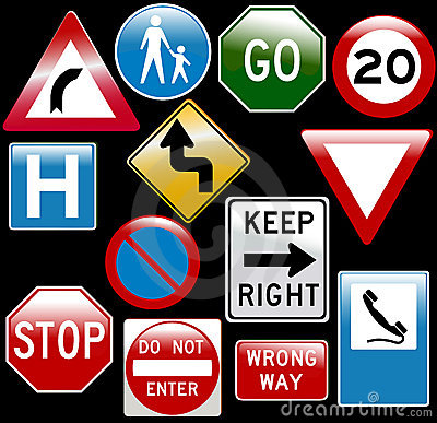Free Vector Road Signs Royalty Free Stock Photos - 8937828