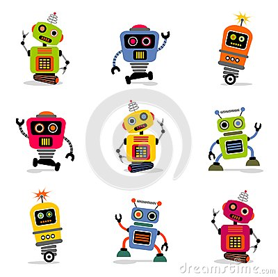 Free Vector Robots Set 2 Stock Images - 26394164