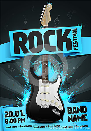 Free Vector Rock Festival Flyer Design Template For Party Royalty Free Stock Image - 95250446