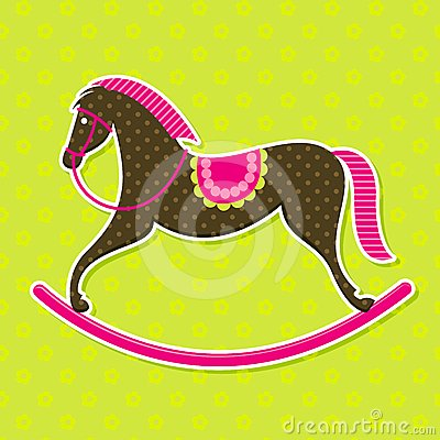 Vector Rocking Horse Baby Card