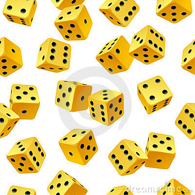 Vector rolling yellow dice seamless background