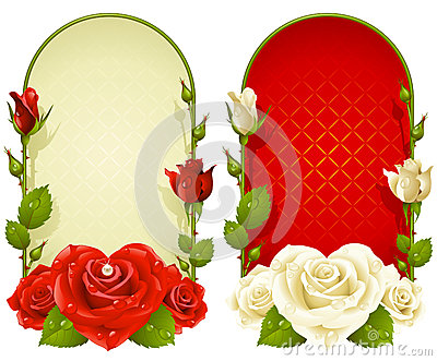 Vector rose frames isolated on white background