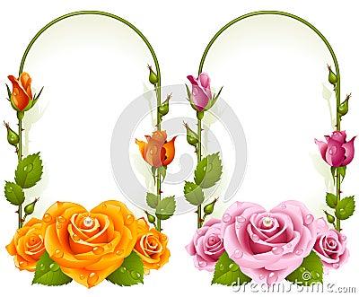 Vector rose frames  on white background
