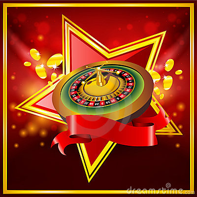 Vector roulette wheel on red background