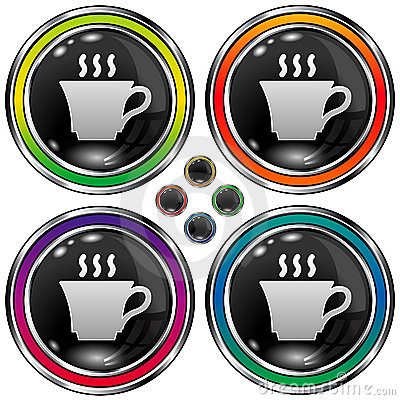 Vector round button with coffee or tea cup icon
