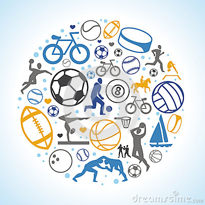 Vector round concept with sport icons and signs